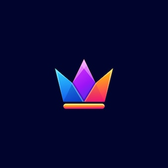 Crown color logo design vector
