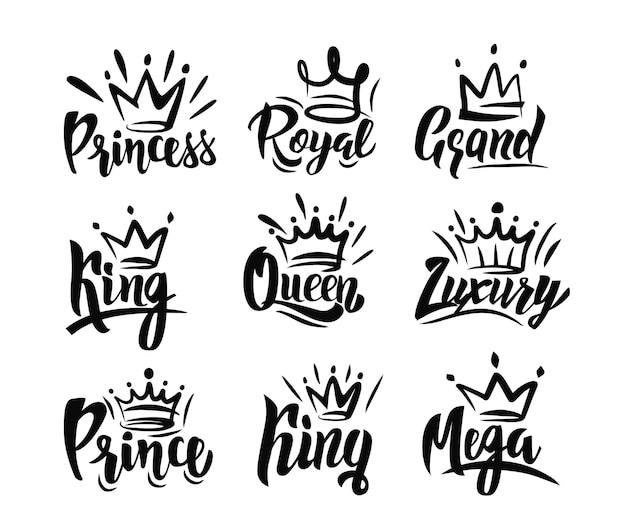 手テキストのレタリングと王冠の落書き