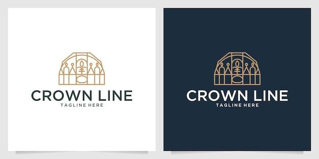 クラウンエレガントなラインアートのロゴデザイン