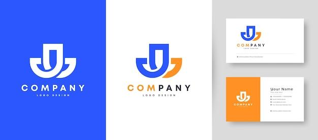 Crown flat minimal initial j, jj, and jl letter logo with premium business card design   template Premium Vector