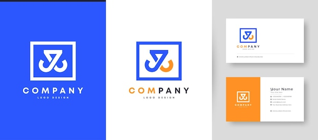 Crown flat minimal initial j, jj, and jl letter logo with premium business card design   template