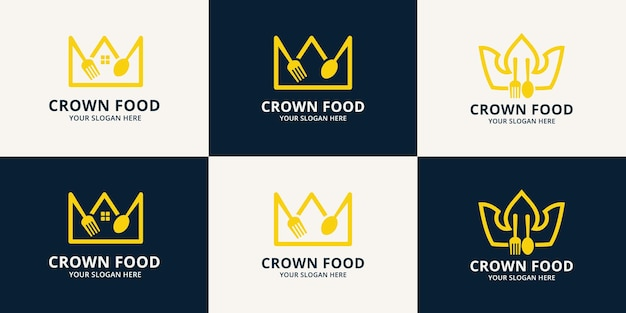 Crown food inspiration logo for restaurant, hotel and place order food