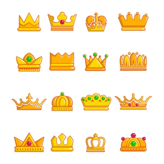 Crown gold icons set