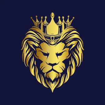 Crown gold lion logo company premium mascot