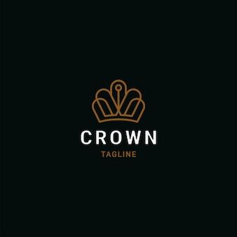フラットスタイルのロゴテンプレートとクラウンゴールデンリニアプレミアム