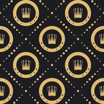 Crown golden pattern seamless. vintage luxury classic background.