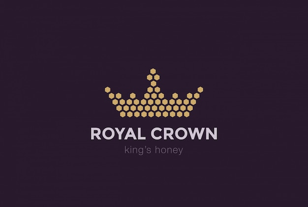 Crown of hexagon cells logo design template. royal king honey logotype concept idea icon