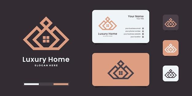Шаблоны дизайна логотипа корона дом. элитный дом для вашей компании.
