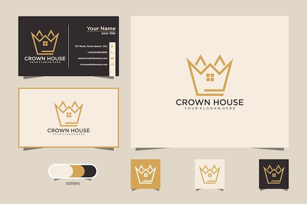 Crown house with line style logo design and business card