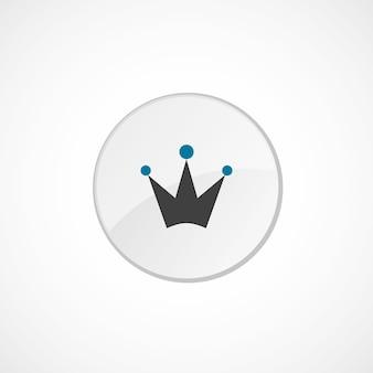 Корона значок 2 цвета, серый и синий, значок круга