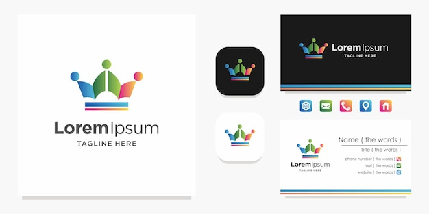Crown icon concept logo inspiration and business card