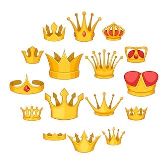 Crown icons set, cartoon style