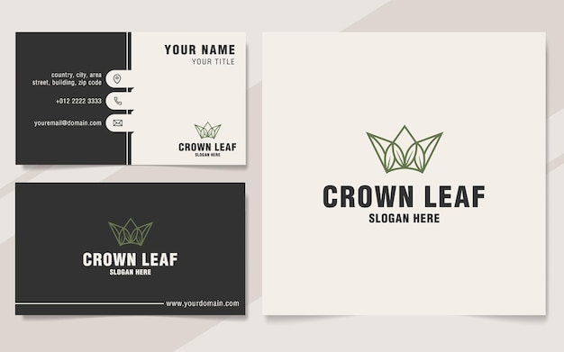 Crown leaf logo template on monogram style
