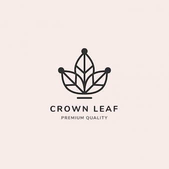 Crown leaf minimal line logo
