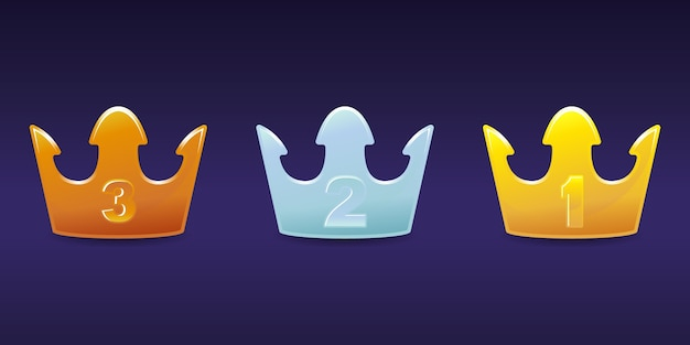Crown level emblem bronze, silver, gold set premium