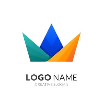 カラフルな王冠のロゴデザイン、ロゴ