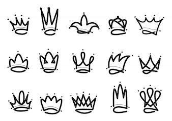 Корона логотип рисованной значок
