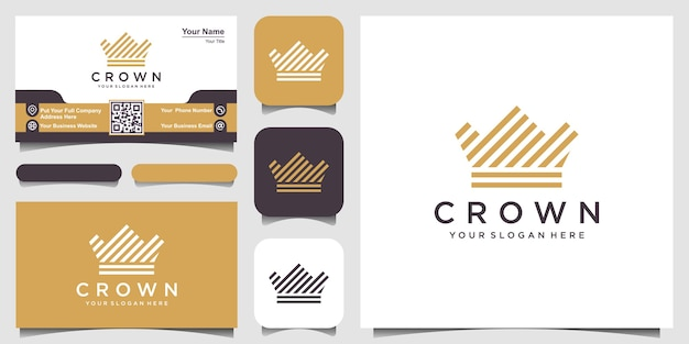 Crown logo icon with line stripes style and business card