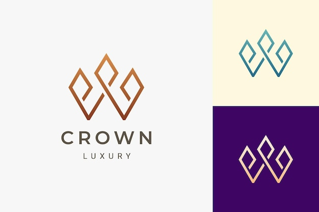 Crown logo in luxury and clean shape for beauty or jewelry business
