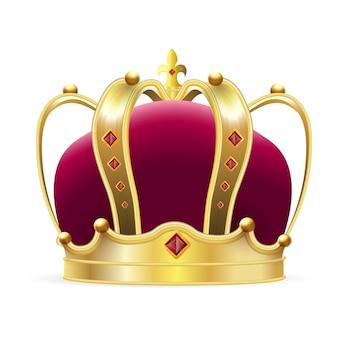 王冠のロゴ。赤いベルベットとルビーの宝石のリアルなロイヤルゴールドクラウン。古典的な王または女王の王冠、高級当局のロゴの装飾