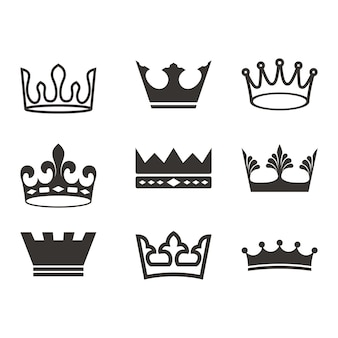 Crown logo set silhouette