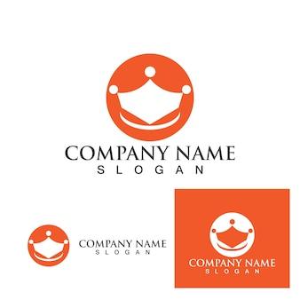 Корона логотип шаблон вектор значок иллюстрации дизайн