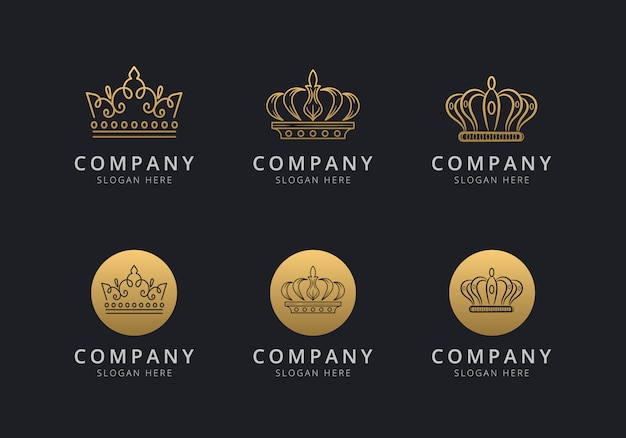 Crown logo template with golden style color for the company