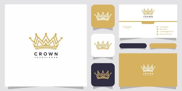 王冠のロゴのテンプレートと名刺のデザイン