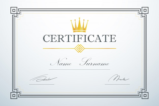 Crown logo. vintage luxury design. certification card frame template