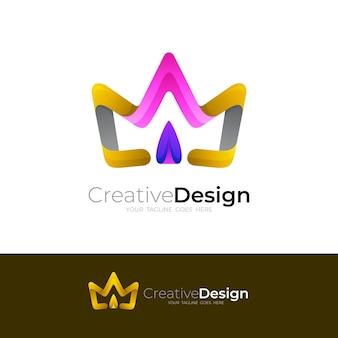 3dカラフルなアイコン、カラフルなラインデザインの王冠のロゴ