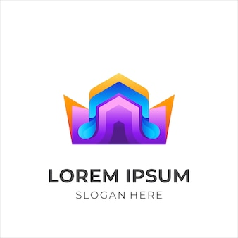 Crown logo with music icon template 3d colorful
