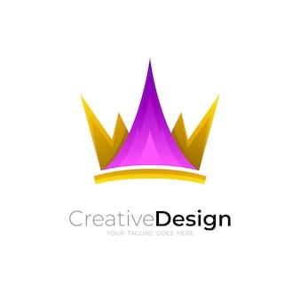 シンプルなデザインのイラスト、ファッションアイコンと王冠のロゴ