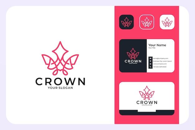 クラウンラグジュアリーラインアートスタイルのロゴデザインと名刺
