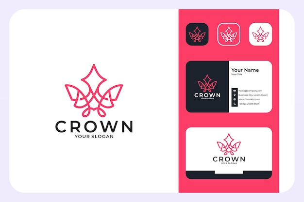 Crown luxury line art style logo design and business card