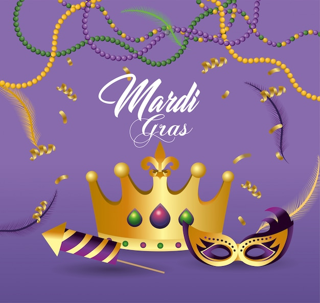 Crown and masks with fireworks to celebrate merdi gras