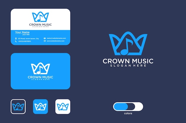 Корона музыка дизайн логотипа и визитная карточка
