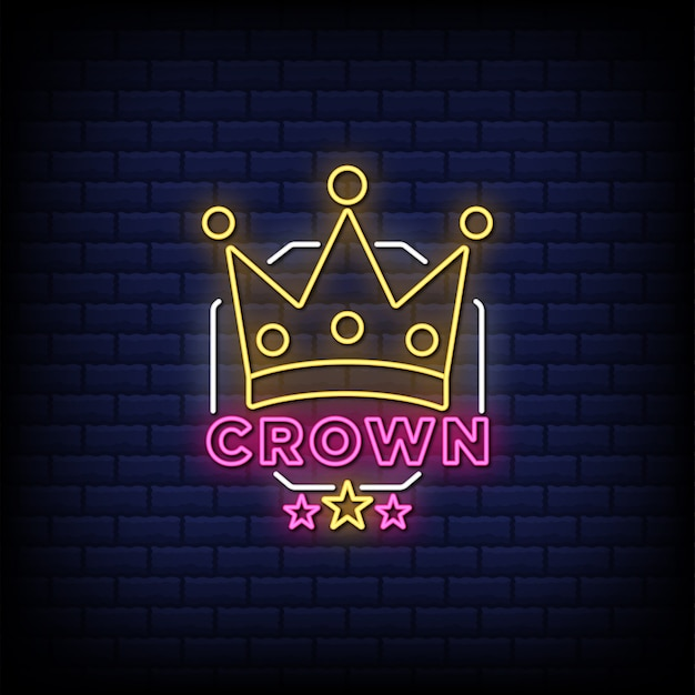 Crown neon signs style text