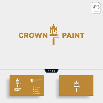 Crown paint brush colorful logo template vector icon element