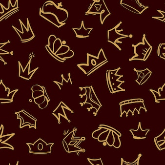 Crown pattern. textile  design of golden diadem king crowns  premium luxury hand drawn seamless background