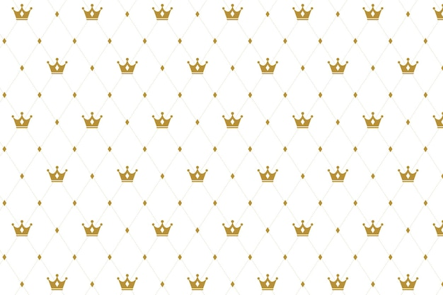 Crown seamless pattern on white