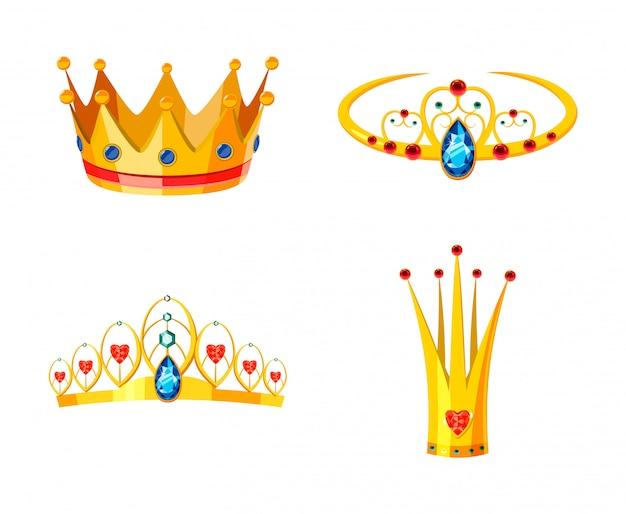 Crown set. cartoon set of crown