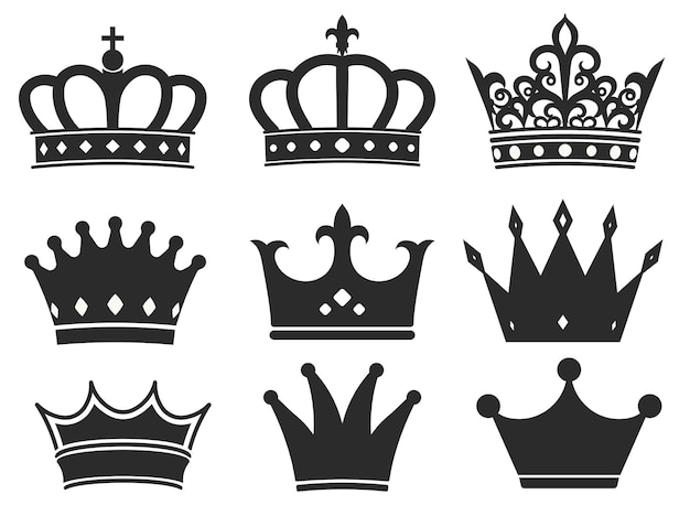 Crown silhouette icon collection illustration