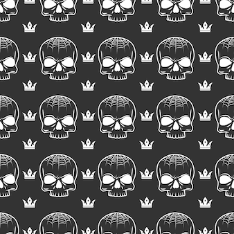 Crown and skull seamless pattern