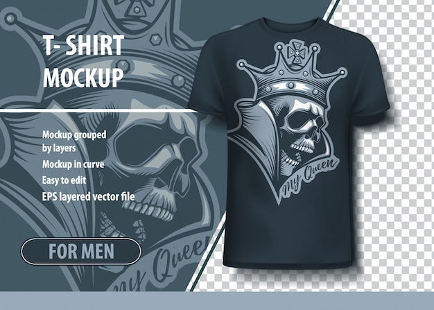 Crown on skull t-shirt template