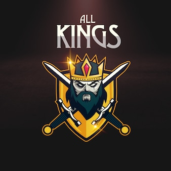 Crown sword shield sport gaming logo