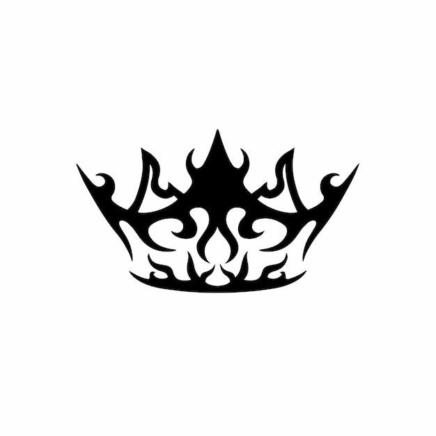 Crown symbol logo tattoo design stencil vector illustration