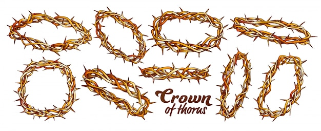 Crown of thorns religious set color