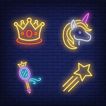 Crown, unicorn, mirror and flying star neon signs set