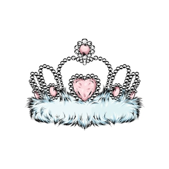 Crown vector. painted diadem. vector illustration for a greeting card, poster, or print on clothes.