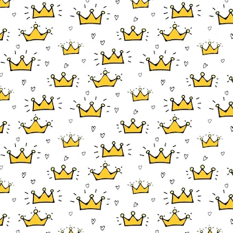 Crown vector pattern background for kid.